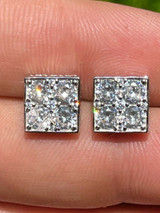 Real 925 Silver Iced Square Cube Diamond Hip Hop Earrings Studs Large 10mm Men's