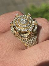 Men's 14k Gold Over Solid 925 Silver King Crown Diamond Pinky RING Iced Hip Hop