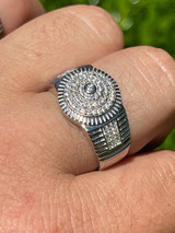 Men's Solid 925 Sterling Silver Diamond Pinky RING ICED Bust Out Down Size 7-13