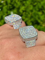 Large Real Solid 925 Sterling Silver Mens Iced Diamond Baguette Out Ring Hip Hop