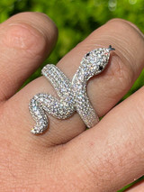 Real Solid 925 Sterling Silver Mens Ladies Snake Cobra Iced Diamond Ring Hip Hop