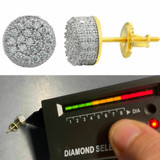 Mens Real Gold Vermeil 925 Sterling Silver Round Earrings MOISSANITE Studs Iced