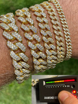Real Miami Cuban Link Bracelet Iced MOISSANITE Out 14k Gold 925 Sterling Silver