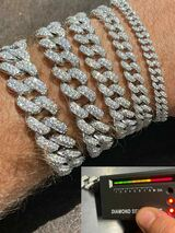 Real Miami Cuban Link Bracelet Iced MOISSANITE Out Solid 925 Sterling Silver ICY