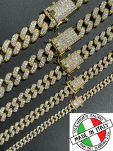 Real Miami Cuban Link Chain Iced Diamond Out Gold Vermeil 925 Silver Necklace