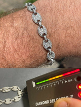 Iced Gucci Link Bracelet Solid 925 Silver Out Moissanite Pass Diamond Tester