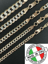 Cuban Link Chain 14k Rose Gold & Solid 925 Silver Diamond Cut 5-8mm Necklace