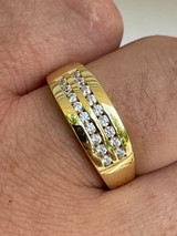 Real Solid 925 Silver 14k Gold Vermeil Diamond Ring Iced Pinky Or Wedding Band