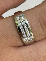 Real Solid 925 Sterling Silver Diamond Ring Iced Pinky Or Wedding Band Mens Out