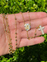 Rosary Beads Necklace Gold & Real 925 Silver Rosario Iced Baguette Diamond Out