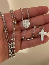 Rosary Beads Necklace Real 925 Sterling Silver Rosario Iced Baguette Diamond Out