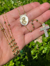 Rosary Beads Necklace Gold & Real 925 Sterling Silver Rosario Jesus Iced Diamond