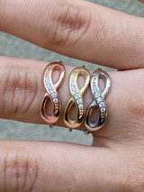 Infinity Love Loop Ring Diamond 925 Sterling Silver Or Yellow Rose Gold Finish