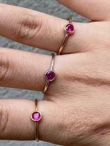 Tiny Red Pink Ruby Ring Diamond 925 Sterling Silver Or Yellow Rose Gold Finish