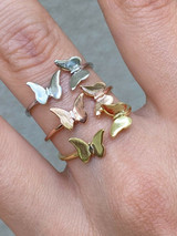 Open Butterfly Ring 925 Sterling Silver Or Yellow Rose Gold Finish Girls Ladies