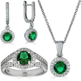 Real 925 Silver Green Emerald Diamond Ring Pendant Necklace Earrings Jewelry Set