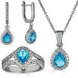Real 925 Silver Blue Aquamarine Diamond Ring Necklace Earrings Girls Jewelry Set