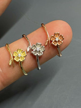 Open Flower Rose Ring Diamond 925 Sterling Silver Or Yellow Rose Gold Finish