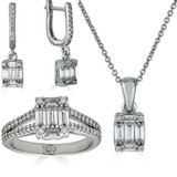Solid 925 Silver Baguette Diamond Ring Pendant Necklace & Earrings Jewelry Set