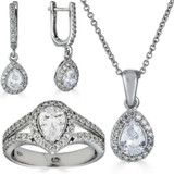 Real 925 Silver Pear Diamond Ring Pendant Necklace Earrings Jewelry Set Girls