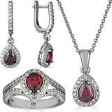 Real 925 Silver Ruby Stone & Diamond Ring Pendant Necklace Earrings Jewelry Set