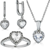Real 925 Silver Heart Shaped Diamond Ring Pendant Necklace Earrings Jewelry Set