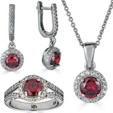 Real 925 Silver Red Ruby & Diamond Ring Pendant Necklace & Earrings Jewelry Set