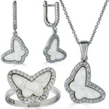 Solid 925 Silver Butterfly Mother Of Pearl Ring Necklace & Earrings Ladies Set
