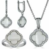 Real 925 Silver Four Leaf Clover Mother Of Pearl Ring Necklace & Earrings Ladies