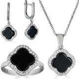 Real 925 Silver Four Leaf Clover Black Onyx Ring Necklace & Earrings Ladies Set