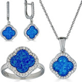 Solid 925 Silver Four Leaf Clover Blue Opal Ring Necklace & Earrings Ladies Set