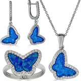 Real 925 Sterling Silver Butterfly Blue Opal Ring Necklace & Earrings Ladies Set