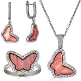 Solid 925 Silver Butterfly Pink Pearl Ring Necklace & Earrings Ladies Girls Set
