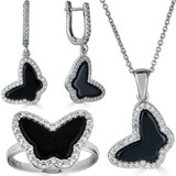 Solid 925 Silver Butterfly Black Onyx Ring Necklace & Earrings Ladies Girls Set