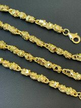 """14k Gold Over Solid 925 Sterling Silver Nugget Link Chain Necklace 5mm 18-30"""""""