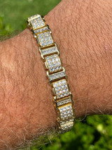 Mens Iced Presidential Bracelet 14k Yellow Gold Over Solid 925 Silver Diamonds