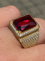 Mens Iced Diamond 14k Gold Vermeil Out Real 925 Silver Ruby Red Stone Big Ring