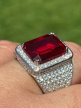 Mens Iced Flooded Out Diamond Real 925 Sterling Silver Ruby Red Stone Big Ring