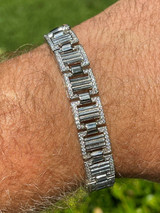 Men 12mm Iced Presidential Bracelet Real 925 Sterling Silver Flooded Out Diamond