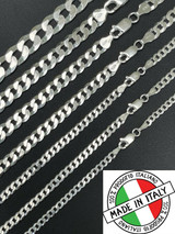 """REAL Solid 925 Silver Flat Miami Curb Cuban Link Chain Necklace 3-11mm 16-30"""""""