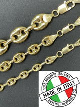 14k Gold Vermeil 925 Sterling Silver Puffed Mariner Link Chain Necklace 6-12mm