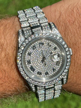 Men's Presidential Roman Stainless Watch Iced 15ct Flooded Out Diamond Hip Hop
