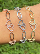 Real 925 Sterling Silver Yellow Rose Gold Oval Heart & Stars CZ Ladies Bracelet
