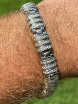 Men's Unique Custom Bracelet Real Solid 925 Sterling Silver Iced Diamond Out