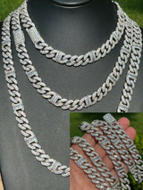 Solid 925 Silver Mens Figarucci Gucci Link Cuban Chain Iced Baguette Diamond Out