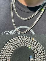 Real 925 Silver Miami Cuban Link Iced Baguette Diamond Chain Necklace Men Ladies