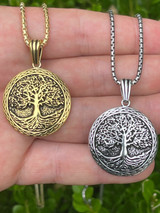 Real 925 Sterling Silver Large Tree Of Life Viking Celtic Pendant Necklace Gold