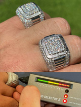 Real 925 Silver Men's Hip Hop Big Iced 3.1ct Moissanite Ring Pass Diamond Tester