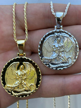 Real 925 Silver Gold Euphanasia Tupac 2Pac Pendant Medallion Necklace Hip Hop