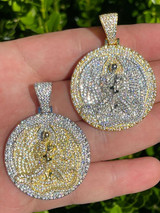 Real 925 Silver Gold Euphanasia Tupac 2Pac Pendant Medallion Necklace Iced Big